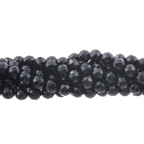 "GM-0104 - 6mm Black Onyx Faceted Round Gemstone Bead Strand | 16"" Str"