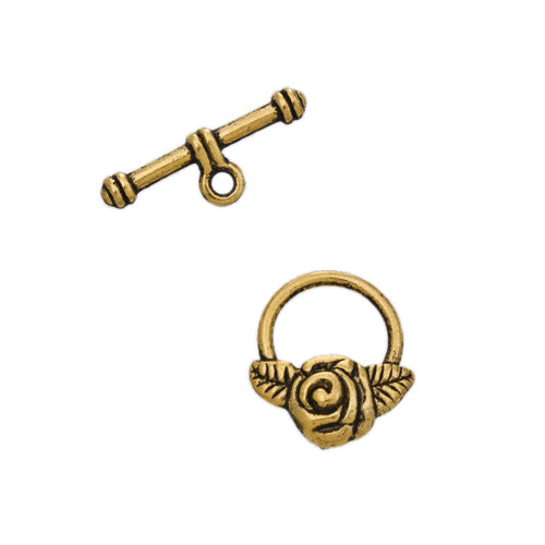 AB-0091 - Antique Gold Pewter Rose Toggle Clasp, 18x19mm | Pkg 5