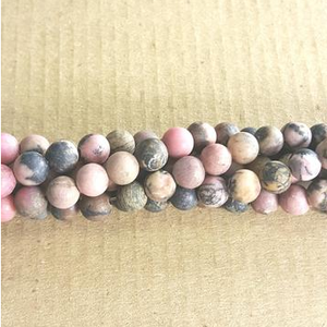 "GM-0664 - 6mm Matte Rhodonite Gemstones | 16"" Strand"