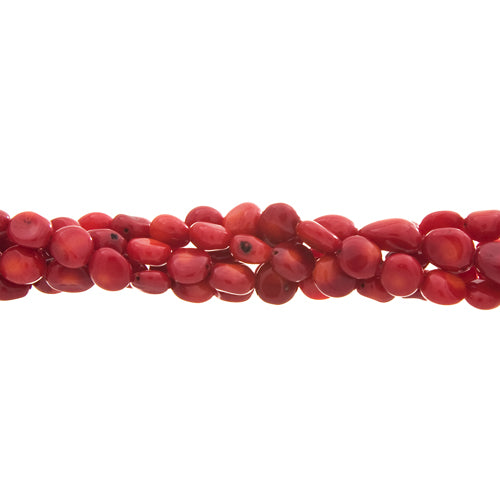 GM-0022 -8-12mm Red Bamboo Coral Medium Nugget Gemstone Bead Strand | 1 Strand