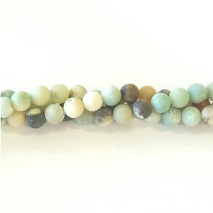 "GM-0215 - Matte Amazonite 4mm Round Gemstone Bead Strand | 16"" Strand"