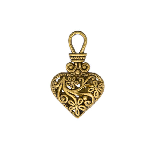 AB-0286 - Antique Gold Pewter Fancy Heart Pendant/Charm,19x31mm | Pkg 2