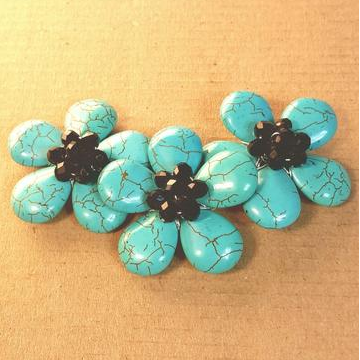 AB-0119 - Blue Howlite Triple Flower Centerpiece With Black Chinese Crystals,1-1/2x4 Inches | Pkg 1