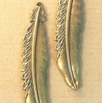 AB-0175 - Antique Brass Pewter Large Feather Pendant,17x74mm | Pkg 2