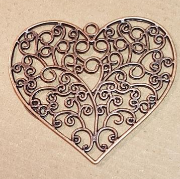 AB-0425 - Copper Pewter Flat Filigree Heart Pendant, 64mm | Pkg 1