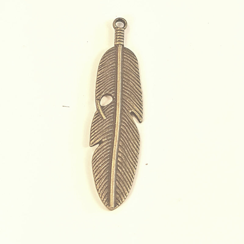 AB-0306 - Antique Brass Pewter Feather Pendant, 14x60mm | Pkg 2