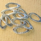 AB-0024 - Antique Silver Pewter Curved Oval Jewelry Links,12x22m | Pkg 10
