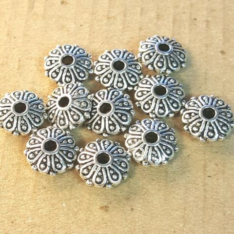 AB-0013 - Antique Silver Metal Bead,Scrolled Rondelle,4x9mm | Pkg 20