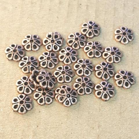 AB-0030 - Antique Copper Pewter 7mm Flower Bead Caps | Pkg 50