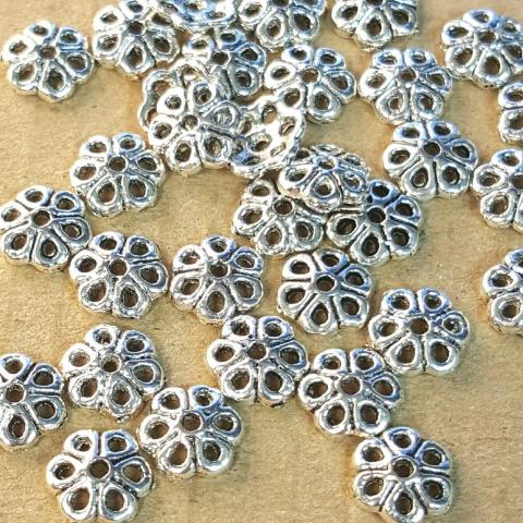 AB-0031 - Antique Silver Pewter 7mm Flower Bead Caps | Pkg 50
