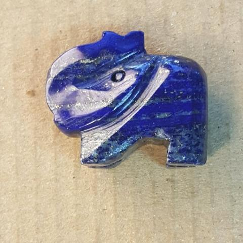 AB-0043 - Lapis Elephant Focal Gemstone Bead,23x26mm | Pkg 1
