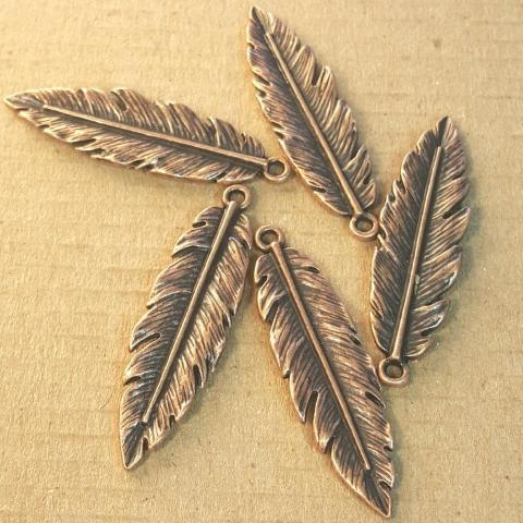 AB-0130 - Antique Copper Pewter Medium Feather Pendant,12x40mm | Pkg 5