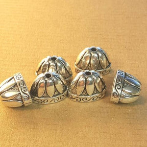 AB-0155 - Antique Silver Pewter Oval Bead Caps,9x16mm | Pkg 6