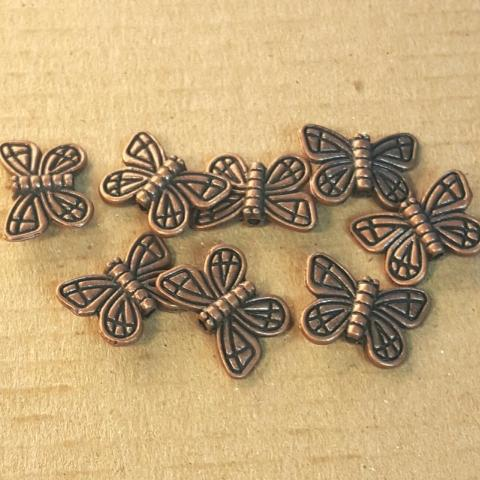 AB-0149 - Antique Copper Pewter Butterfly Beads,10x15mm | Pkg 10