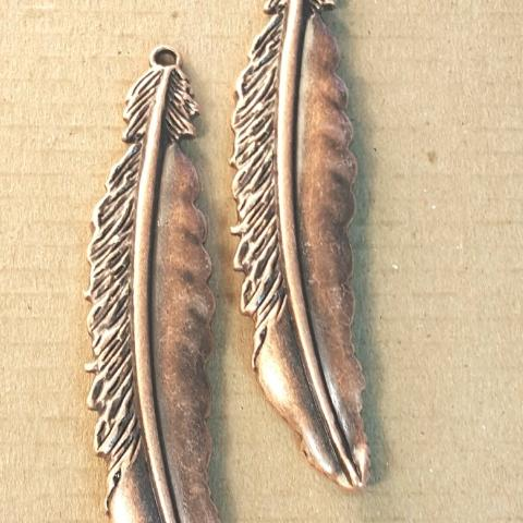 AB-0176 - Antique Copper Pewwter Large Feather Pendant, 17x74mm | Pkg 2