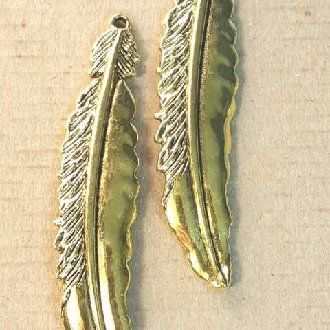 AB-0174 - Antique Gold Pewter Large Feather Pendant, 17x74mm | Pkg 2