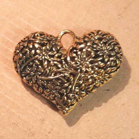 AB-0410 - Antique Gold Pewter Puffed Heart Pendant With Flowers,33x40 | Pkg 1