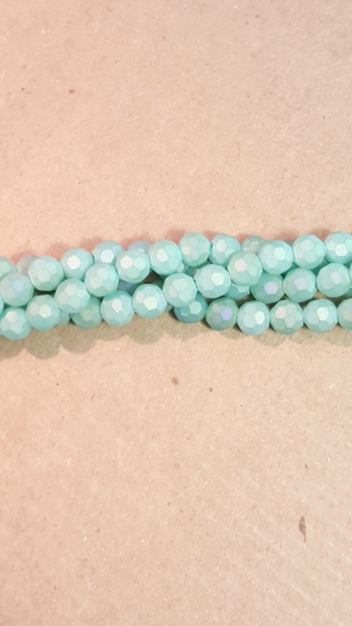 CCR-429 - Chinese Crystal 4mm Round Beads, Matte Seafoam | Pkg 1 Strand