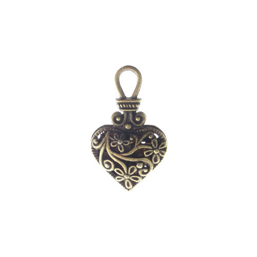 AB-0284 - Antique Brass Pewter Fancy Filigree Heart Pendant | Pkg 2