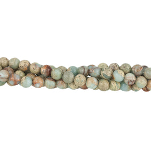 "GM-0062 - 8mm Aqua Terra Jasper Gemstone Bead Strand  | 16"" Str"