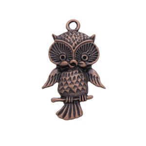 AB-8038 - Antique Copper Owl Pendant, 22x44mm | Pkg 4