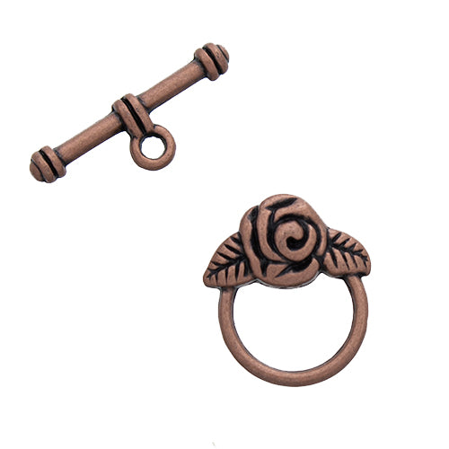 AB-0092 - Antique Copper Pewter Rose Toggle Clasp,15mm | Pkg 5