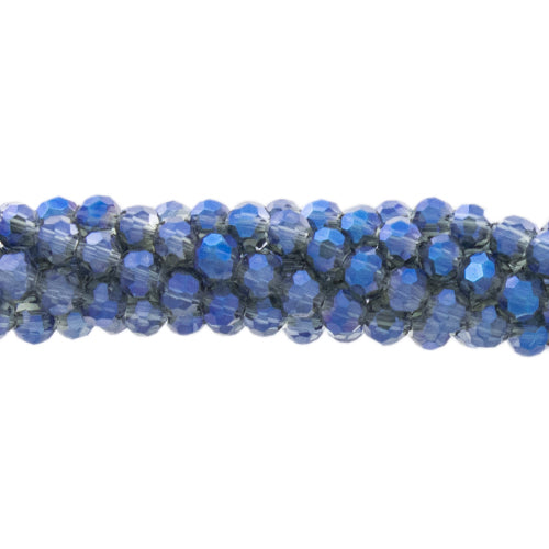 CCR-414 - Chinese Crystal 4mm Round Beads, Blue Vitrail | 1 Strand