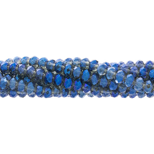 CC-034 - Chinese Crystal Rondelle Bead Strand,Blue Vitrail,3x4mm | 1 Strand