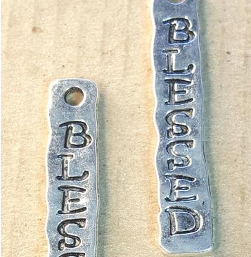 AB-0037 - Silver Pewter Blessed Pendant, 7x40mm | Pkg 2