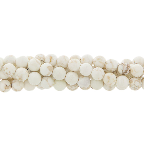 "GM-0094 - 8mm Large Hole White Howlite Gemstone Beads, 7 And 1/2 Inch | 8"" Strand"