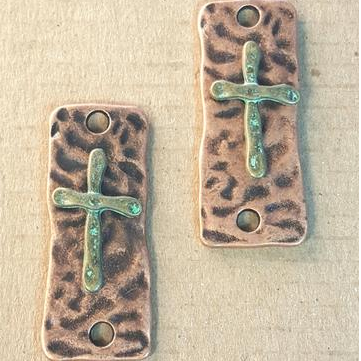 AB-0197 - Antique Copper Pewter Rectangle With Cross Connector, 15x37mm | Pkg 2
