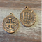 AB-1026 - Antique Copper Coin With Cross Charm, 25mm | Pkg 5