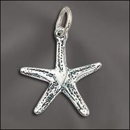 JW/CR1/STF/S - Silver Plated 12mm Starfish Charm | 1 Pc