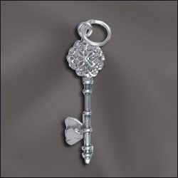 SS/CR3/KH - Sterling Silver Key With Heart Charm, 9x31mm | Pkg 1