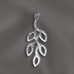 SS/CR5/OB - Sterling Silver Charm, Olive Branch, 11.5x30mm | Pkg 1