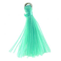 CL-SS/TSC26/AQ - Aqua Cloth Jewelry Tassel With Sterling Silver Closed Ring, 26mm | Pkg 1