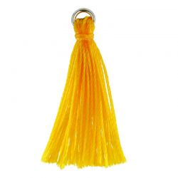 SS/TSC26/YW - Yellow Cloth Jewelry Tassel With Sterling Silver Jump Ring, 26mm | Pkg 1
