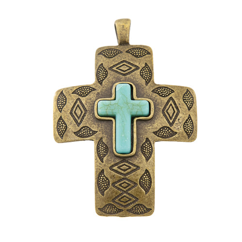GM-0078 - Antique Brass Pewter Cross Pendant With Howlite Cross | Pkg 1