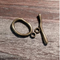 AB-910 - Antique Brass Pewter Wavy Oval Toggle Clasp, 16x25mm | Pkg 2