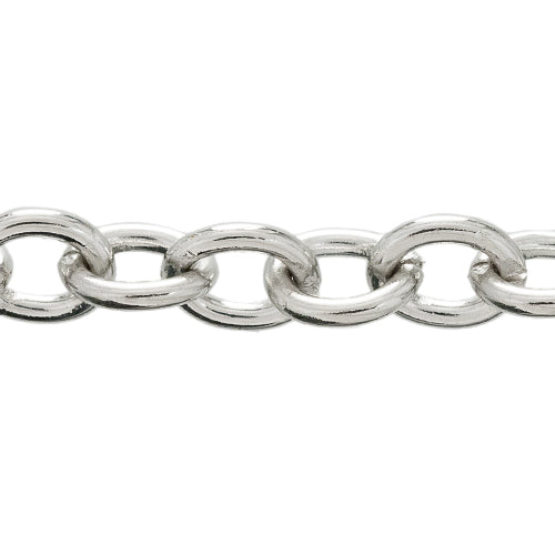 CHN-0038 - Antique Silver Oval Chain,10x12mm | 3 Feet