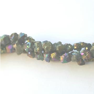 GM-517 - Pyrite Nugget Gemstone Beads With AB Finish, 7mm | Pkg 1 Strand