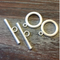 AB-1022 - Matte Silver Simple Toggle Clasp, 22mm | Pkg 2 Sets