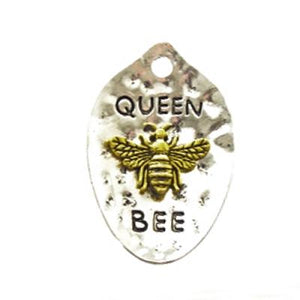 PCH-0054 - Silver Pewter Queen Bee Pendant,Gold Bee,28x42mm | Pkg 1