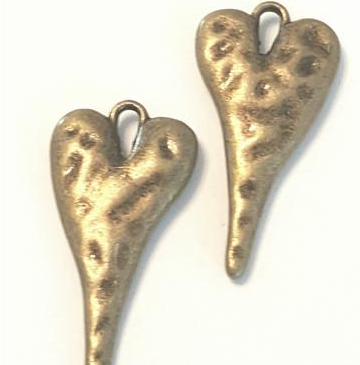 AB-0070 - Antique Copper Pewter Puffy Long Heart Pendant, 13x27mm | Pkg 5