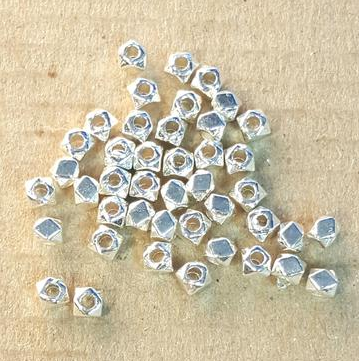 AB-0189 - Silver Pewter 3mm Cube Beads | Pkg 100