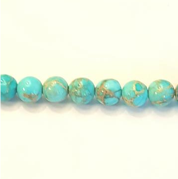 "GM-2027 - Turquoise Blue 6mm Variscite Gemstone Bead Strand | 16"" Strand"