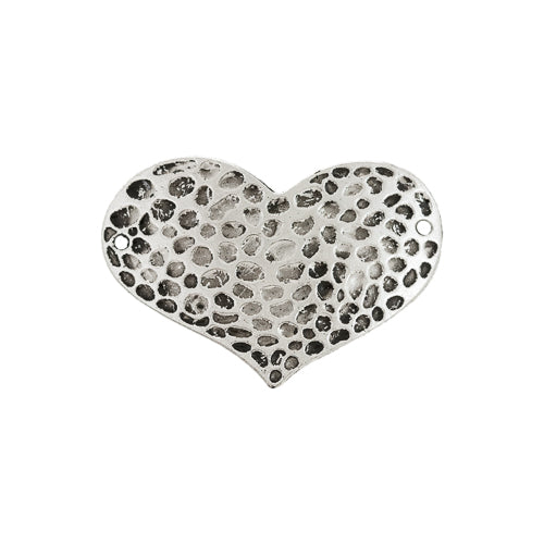 AB-0059 - Antique Silver Pewter Hammered Heart Jewelry Connector | Pkg 2