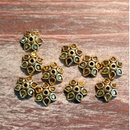 AB-919 - Antique Gold 10mm Petal Bead Caps | Pkg 20