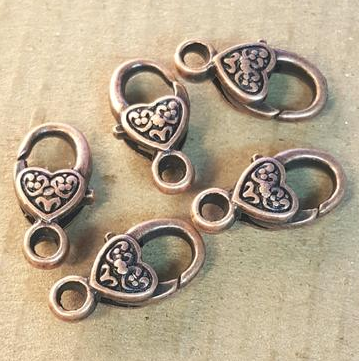 AB-0017 - Antique Copper Pewter Heart Lobster Clasps,10x18mm | Pkg 5