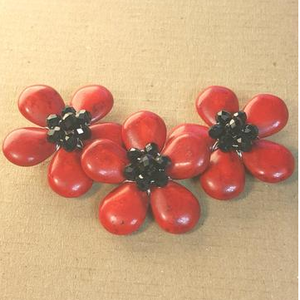 AB-0117 - Red Howlite Triple Flower Centerpiece With Black Chinese Crystals,1-1/2x4 Inches | Pkg 1